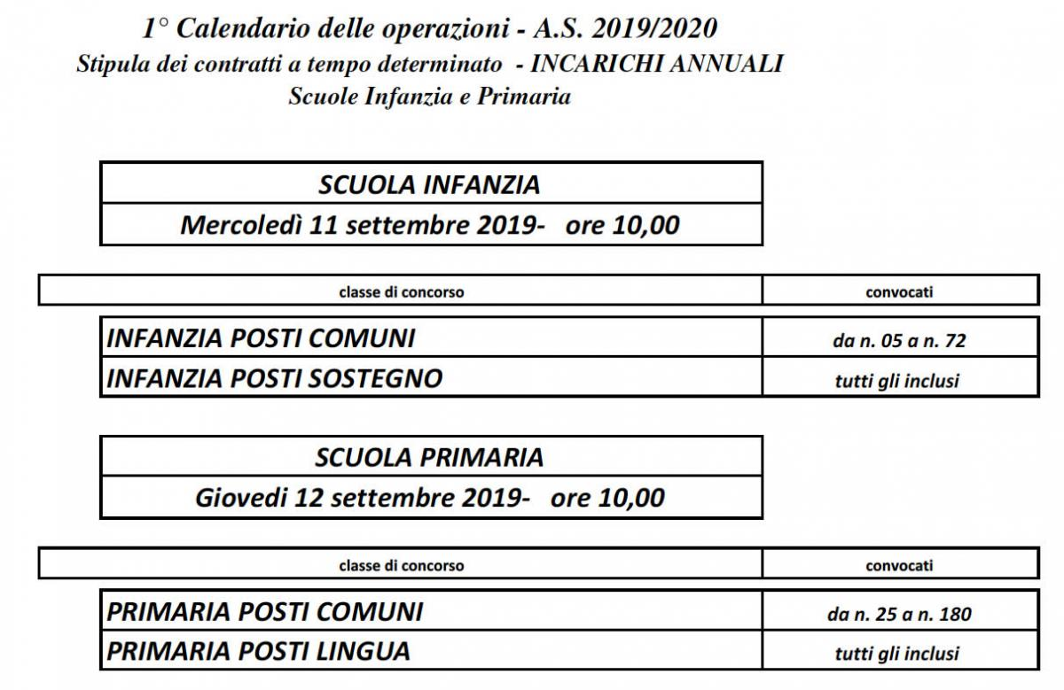 calendario supplenze infanzia e primaria 2019